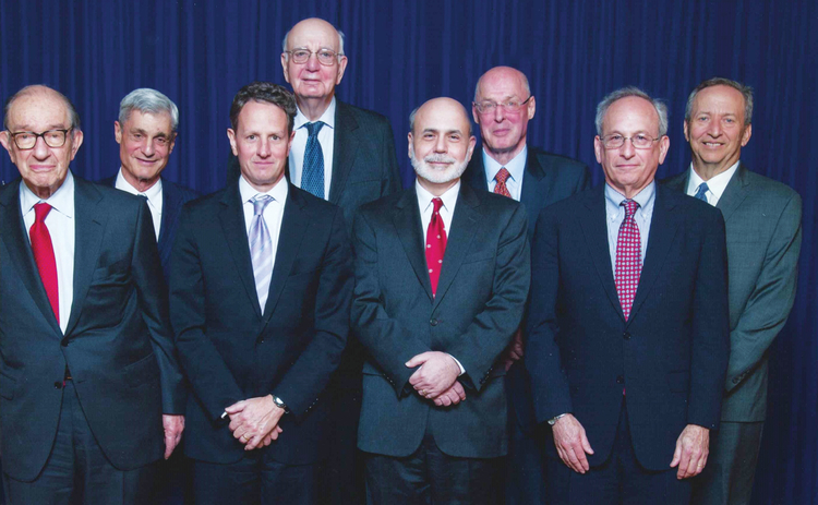 Alan Greenspan, Robert Rubin, Tim Geithner, Paul Volcker, Ben Bernanke, Hank Paulson, Donald Kohn and Larry Summers