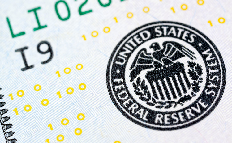 US Federal Reserve seal on a $100 banknote