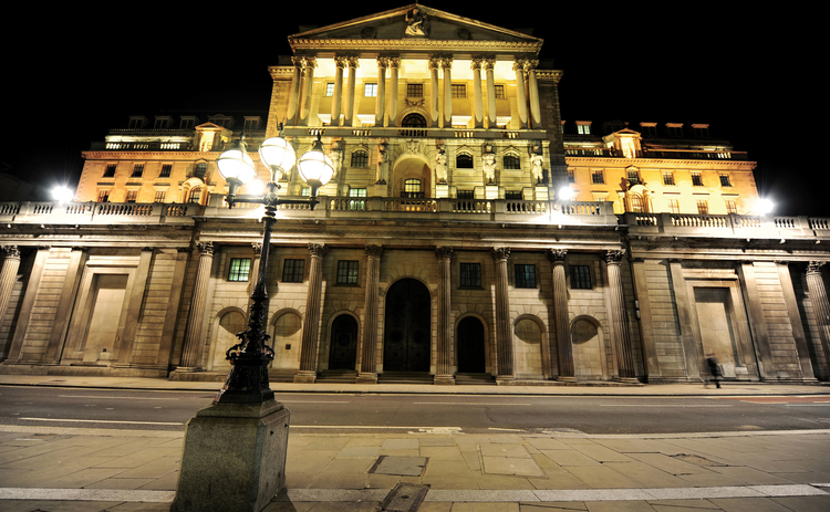 The Bank of England at night