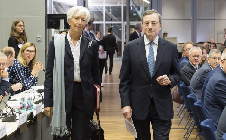 Christine Lagarde and Mario Draghi at the ECB.