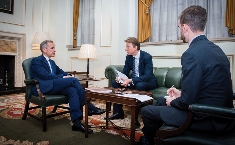 L to R: Mark Carney with Central Banking's Christopher Jeffrey and Daniel Hinge