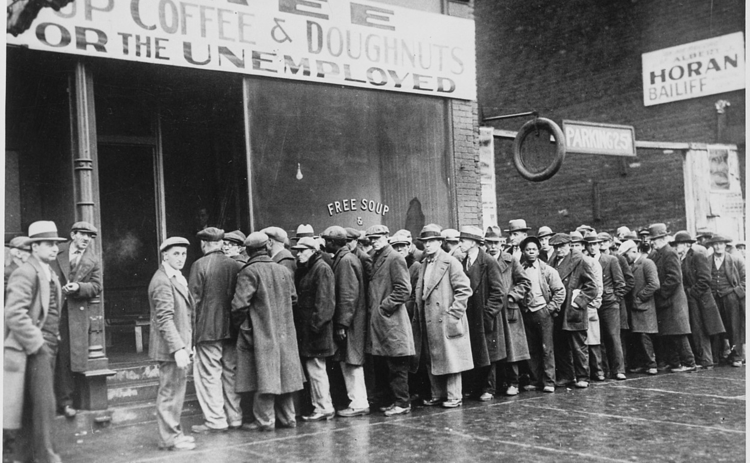 A queue of unemployed workers during the Great Depression