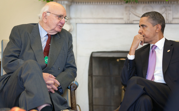L to R: Paul Volcker and Barack Obama