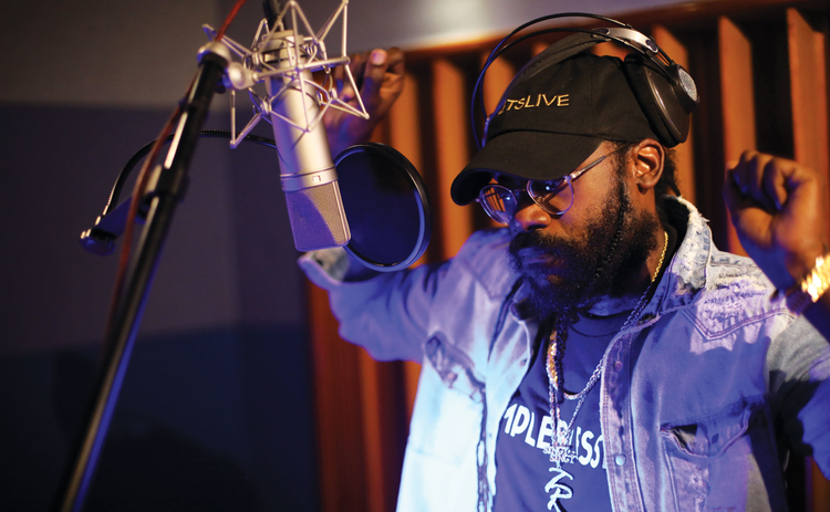Tarrus Riley in the studio