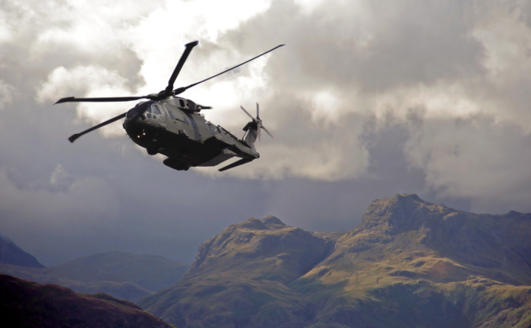RAF Merlin helicopter hugs valleys in the lake district