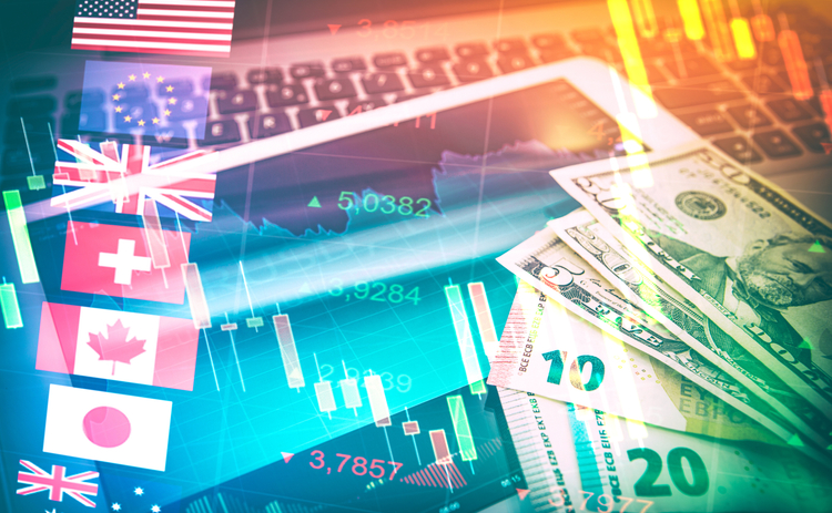 flags currency foreign exchange and technology