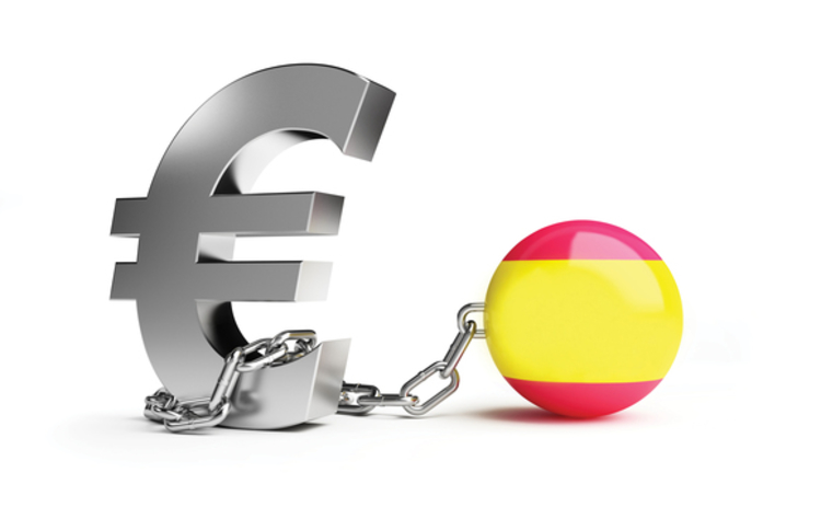 Concept image of the Spanish ball and chain on the euro