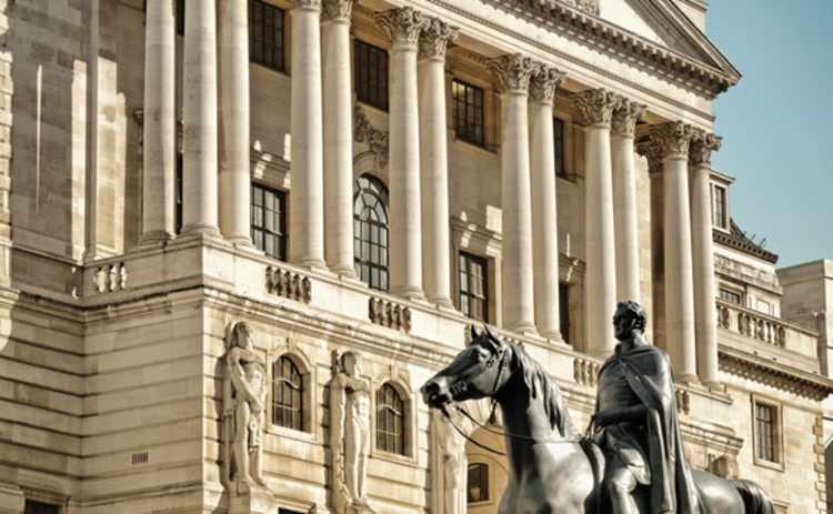 Close up of Bank Of England facade with the statue of Duke of Wellington Statue created by Francis Chantrey City of London England