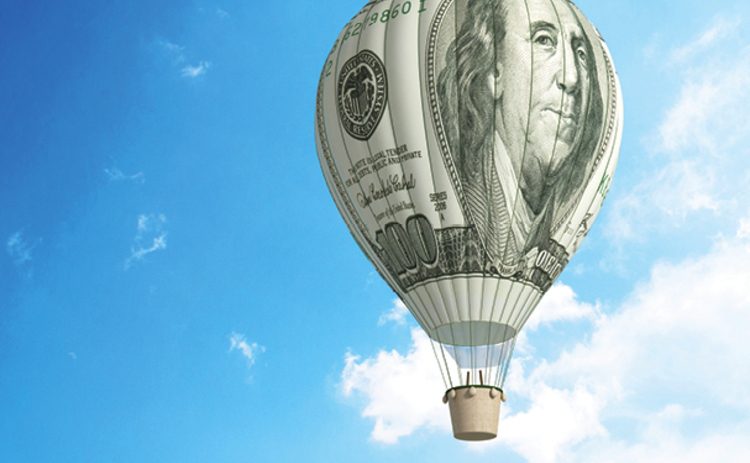 Image of a hot air balloon made of a 100 dollar bill