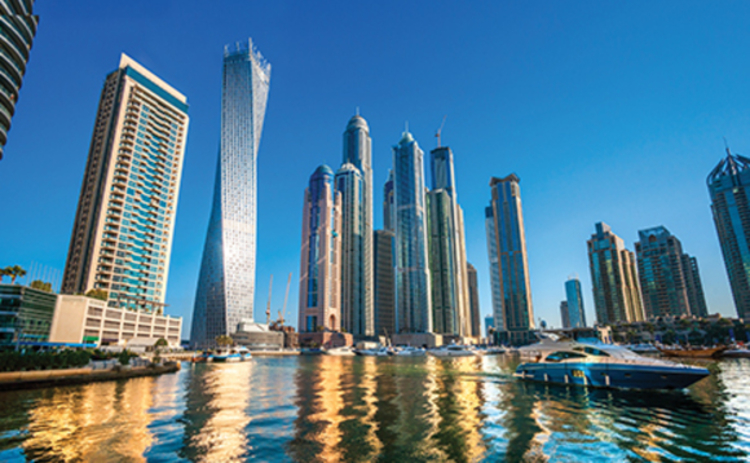 Skyscrapers in the Dubai Marina in the UAE